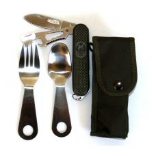Daugiafunkcinis peilis dėkle su valgymo įrankiais