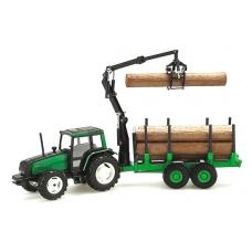 Traktorius Valtra su medvėže priekaba